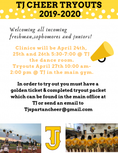 TJHS CHEER TRYOUTS 2019-2020